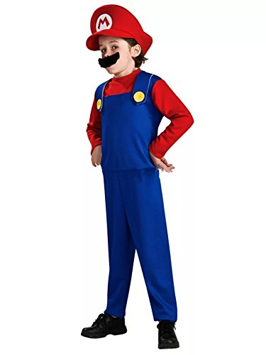 Kostüm Kinder Klempner - thematys Super Mario Luigi Mütze + Hose + Bart - Kostüm-Set für Kinder - perfekt für Fasching, Karneval & Cosplay (S, 110-120cm Körpergröße)