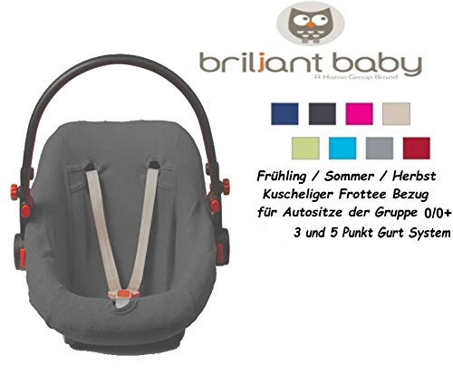 BriljantBaby BabyFit - ** Fodera protettiva ** Universale in spugna di cotone - per i seggiolini del gruppo 0/0+ p.es. Maxi-Cosi (Cabrio Fix, Pebble, City SPS), Römer et altri (Grigio)
