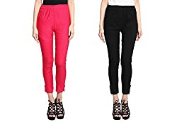 Broadstar Rani & Black Lam Lam Solid Palazzo Pant For Women- Pack Of 2
