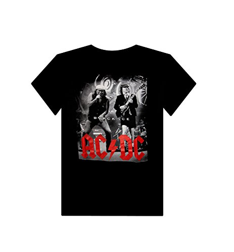 Buffini AC/DC Herren Schwarz T-shirt Weiß (white logo)