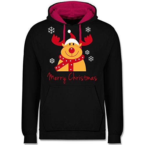 (Weihnachten & Silvester - Merry Christmas Rentier - M - Schwarz/Fuchsia - JH003 - Kontrast Hoodie)