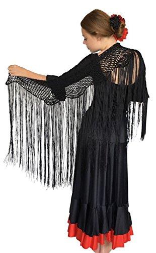 La Señorita Mantoncillo de Crochet negro Manton Flamenco Ganchillo para mujer