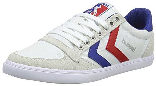 hummel Unisex-Erwachsene Slimmer Stadil Low Sneakers, Weiß (White/Blue/Red/Gum), 38 EU (5 Erwachsene UK)