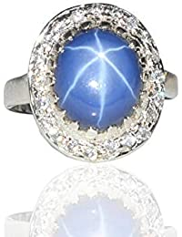 469b0e180c12 Anillo de zafiro estrella azul natural anillo de zafiro estrella azul plata  925 para la boda