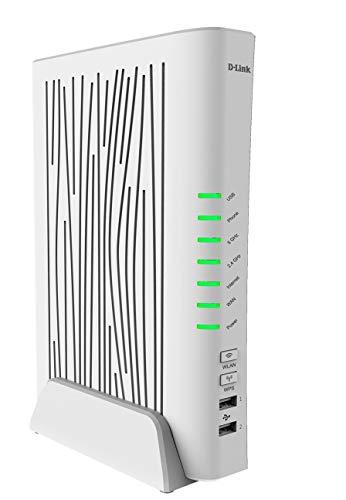 D-Link DVA-5593 Modem Router VoIP, Wi-Fi AC2200, Dual Band, 4 Porte LAN + 1 Porta WAN Gigabit, USB...