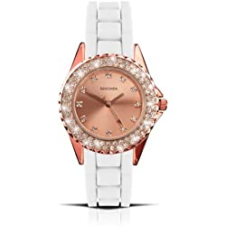 Sekonda Women's Quartz Watch with Rose Gold Dial Analogue Display and White Silicone Strap 4653.27