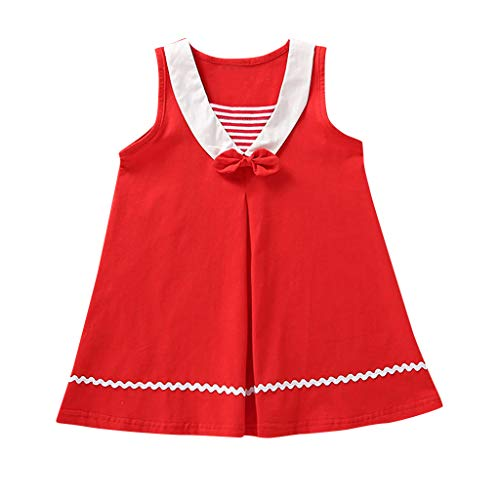 Livoral Baby Born Kleidung Set Kleinkind-Kind-Baby-Fliegen-gestreifter zufälliger Prinzessin Dress Beach Skirt(Rot,100)