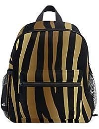 FANTAZIO Mochila Escolar Primario Oro Tiger Skin Bookbag