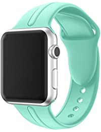 Magiyard Para Apple Watch Series 3 38mm/42mm, Correa de silicona de repuesto Soft Sports Band (38mm, menta)