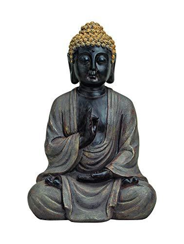 WOMA–Figura de Buda Sentado con Dorados reaparición, decoración para Hogar, Hogares y jardín, 40cm de Altura, Impermeables Escultura de polirresina para Interior y Exterior, Gris