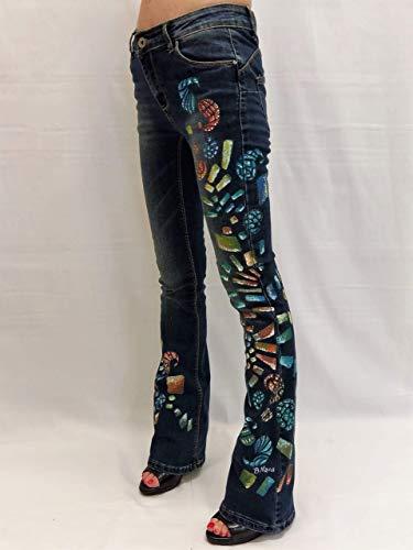 Jeans donna a zampa casual jeans elasticizzati svasati vita bassa dipinti a  mano f7631c5768d