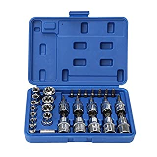 OCGIG 30Pcs Torx Bit Socket and External Torx Socket Set with Tamper Proof Torx Bits and Holder,Star Socket and Bit Set Male and Female Torx Sockets E & T Socket Bits,S2 and Cr-V Steel