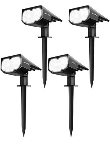 Mpow 12 LED Paisaje Luces Solares Mejoradas,Luz del césped Impermeable IP67 con 2 Modos de Iluminación para Patio, Garaje, Camino, Camino de Entrada, Porche, Piscina y Patio(4 Paquetes)