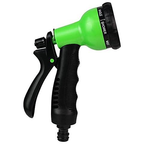 8-Pattern Garden Hose Spray Gun High Pressure Watering Hose Gun Hand Sprayer with Nonslip Rubber Grip Hose Nozzle (green)