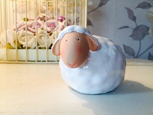 Piccola ceramica smaltata sheep ornament ~ easter ~ nativita farm animal