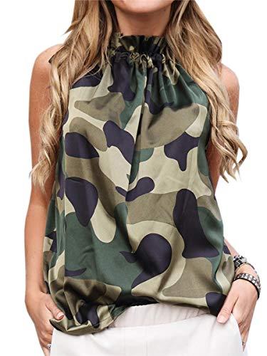Spec4Y Damen Sommer Oberteile Ärmellos Top Schleife Shirt Print Casual Tanktops Blusen Camouflage XL