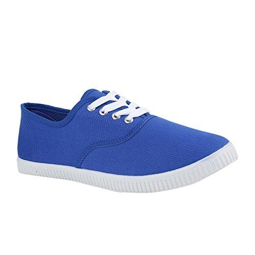 Sportliche Damen Herren Sneakers Unisex Basic Freizeit Schuhe Schnürer Stoffschuhe Prints Viele Farben Flandell Blau Blue
