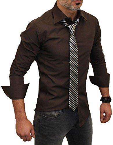 Redbridge Herren Freizeit-Hemd, Einfarbig Braun - Braun
