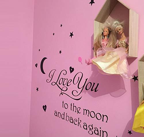 Ich liebe dich zum Mond und wieder zurück zitiert Wandtattoos dekorative Aufkleber Mädchen Zimmer abnehmbare Vinyl Plakate nach Hause Kunst -