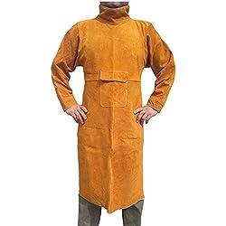 NUZAMAS Delantal de soldar Anti-llama de piel de vaca de abrigo largo Ropa protectora Ropa Traje de soldador Cuero durable Extra Large 155 cm de largo 60 cm de ancho
