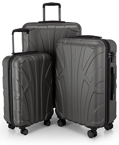 SUITLINE - 3er Koffer-Set Trolley-Set Rollkoffer Hartschalen-Koffer Reisekoffer, TSA, (S, M & L), Koffer-Set, 76 cm, 210L, Graphite -