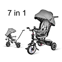 besrey Trike, Tricycle Kids Trike 7 in 1 with Pedal Lock and Silent Wheels, Fit from 6 Months to 6 Years, Grey/Red