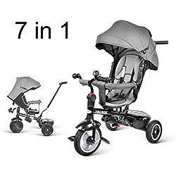 besrey Tricycle Evolutif Bébé 7 en 1 Vélo Enfant Garçon Fille Réversible Multifonctionnel (Roue Caoutchouc)