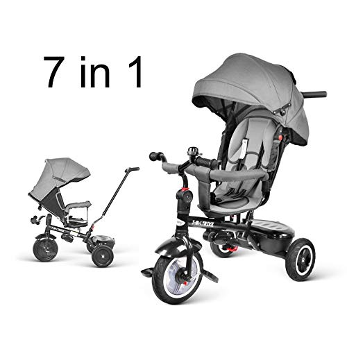besrey 7 en 1 Tricycle Vélo Réversible Evolutif Multifonctionnel (Gris/Rouge). Roues Silencieuses et Anti-Pincement. avec La Tige-Poussoir Directionnelle. 7 Mois-6 Ans.
