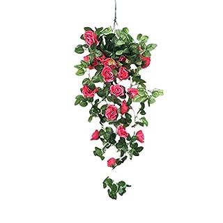 SEWORLD Fleurs Artificielle Simulation Faux Fleur Rose Vigne Suspendu Panier Fleur Artificielle OrchidBalcon du Salon Fleur de décoration Accessoires de Photographie Accessoires pour la Maison