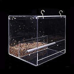Fancylande Alimentador de pájaros automático Comedero de pájaros sin Preocupaciones contenedor de Alimentos acrílico en Loro Pigeon Salpicaduras Jaula para Colgar Cuenco de alimentación