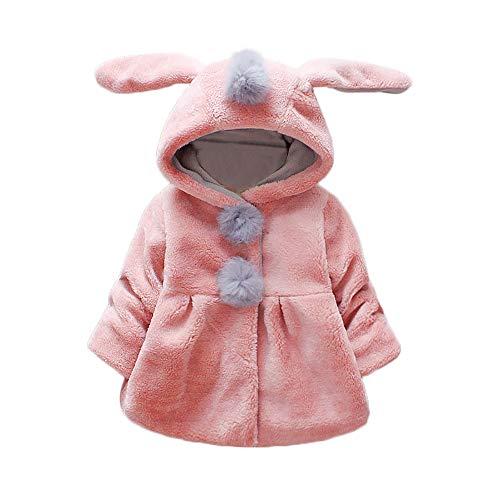 HUHU833 Baby-Kapuzen Mantel,Baby Säuglingsmädchen Herbst Winter mit Kapuze Mantel Umhang Jacke Starke warme Kleidung (0-6Monate, Rosa 2) -