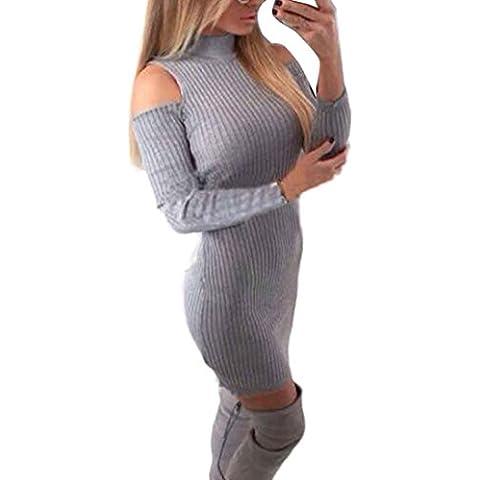 Vestido de las mujeres, Amlaiworld Bodycon del mini vestido (M, Gris)