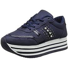 Angkorly - Scarpe Moda Sneaker Sporty Chic Tennis bi-Materiale Donna Lucide  Perforato Tacco Tacco 294fe71eac7