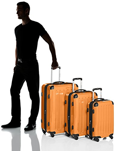 HAUPTSTADTKOFFER – Alex – Set of 3 Hard-side Luggages Glossy Suitcase Hardside Spinner Trolley Expandable (S, M & L) Orange