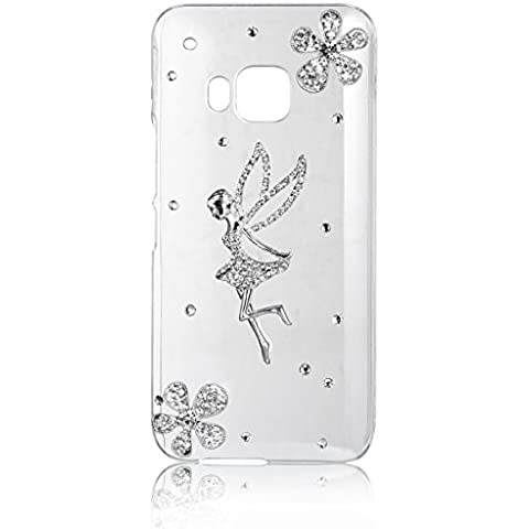 Carcasa con cristales Angel JewelryWe nuevo diseño de flores de diseño de chica con carcasa rígida transparente anti-a los arañazos para HTC One