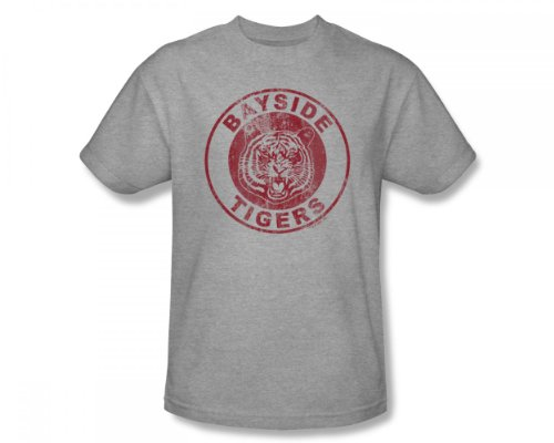 Saved By The Bell - Bayside Tiger Distressed Slim Fit Adult T-Shirt in Heather, XX-Large, Heather -
