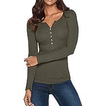 Ghemdilmn Camisetas Ajustadas Cuello V Manga Larga Mujer Camiseta Interior para Dama Camisas Camisa Top Chica