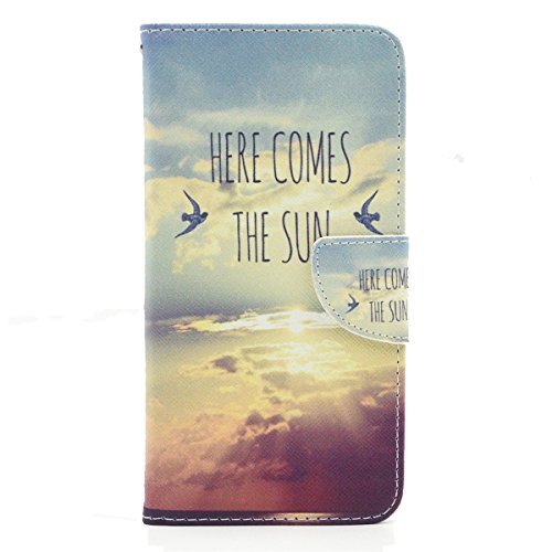 iPhone 6 Coque, iPhone 6s Coque, Lifeturt [ Voici le soleil ] Coque Dragonne Portefeuille PU Cuir Etui en Cuir Folio Housse, Leather Case Wallet Flip Protective Cover Protector, Etui de Protection PU  E02-Voici le soleil17353