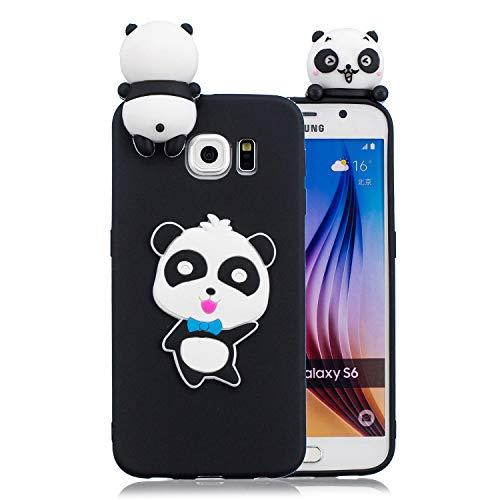 FNBK Handyhülle Silikon Kompatibel mit Galaxy S6 Edge Schutzhülle 3D Blau Bogen Panda Hülle Slim Cute Weiche TPU Silikon Gel Schutz Rückseite Schale Bumper Frauen Mädchen Kinder Handy Case Galaxy Bogen