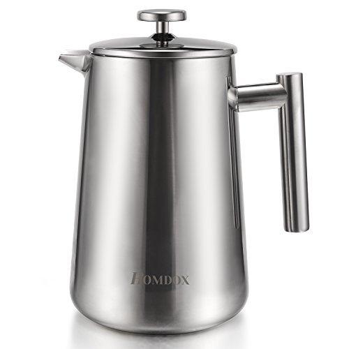 Homdox French Press/ Kaffee und Teebereiter /Kaffeekanne aus Edelstahl, 1.2L/Silber/Aromen &Geschmack Gnießen