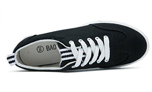 SHFANG Lady Shoes Scarpe da tè per il tempo libero Scarpe comode Movimento Scuola Shopping Daily Black White Black