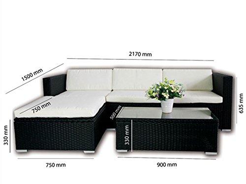 POLY RATTAN Lounge Gartenset SCHWARZ Sofa Garnitur Polyrattan Gartenmöbel Neu - 2