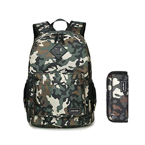 Caflyibag 2-Teiliges Set Schulranzen Büchertasche Rucksäcke für Kinder, Damen, Armee-grün (Rosa Reebok Rucksack)