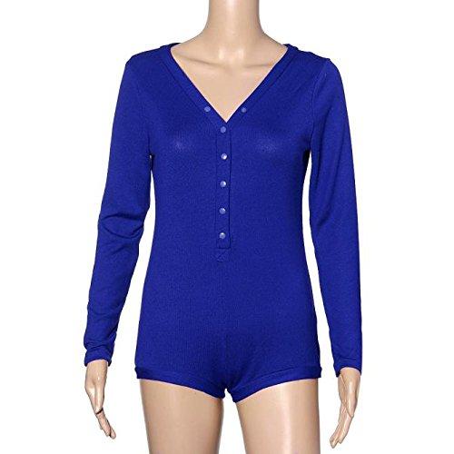 IHRKleid® Playsuit Frauen V Hals lange Ärmel Strampler Overall Top Bluse Shirt Bleu