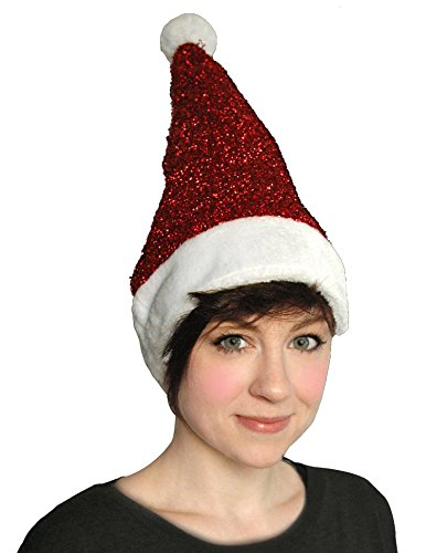 Women New Red Santa Christmas Sparkle Lurex Tinsel Hat Glitter Fancy Dress Party