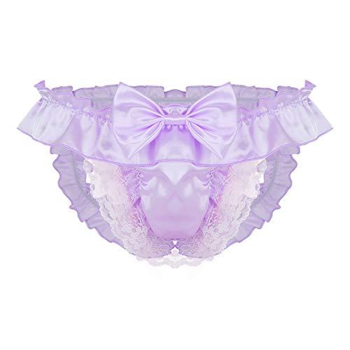 Freebily Sissy Dessous Mann Strings offen Hintern Satin Bikini Slips Tanga Ouvert-Höschen Panties Erotik Kostüm Unterhose Gay Unterwäsche Reizwäsche Violett L