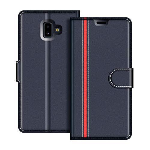 COODIO Samsung Galaxy J6 Plus Hülle Leder, Samsung J6+ Lederhülle Ledertasche Wallet Handyhülle Tasche Schutzhülle mit Magnetverschluss/Kartenfächer für Samsung Galaxy J6 Plus, Dunkel Blau/Rot