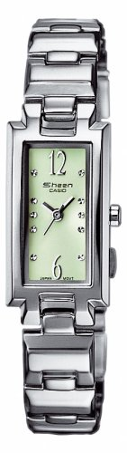 CASIO Collection Damen SHN-4007D-3AEF - Reloj de cuarzo con correa de acero inoxidable para mujer, color verde claro / plateado