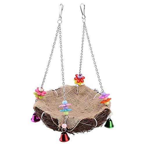 Duokon Vogelhaus/Vogelnest im Hängematten-Stil,Eichhörnchen Hamster Hängematte Rattan Nest Vogel Hängendes Nest Spielzeug mit Glocken Schwingen Stehendem Barsch(Klein)