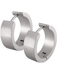 Un par de SoulCats® aros de acero inoxidable plata mate cepillado para hombres y mujeres